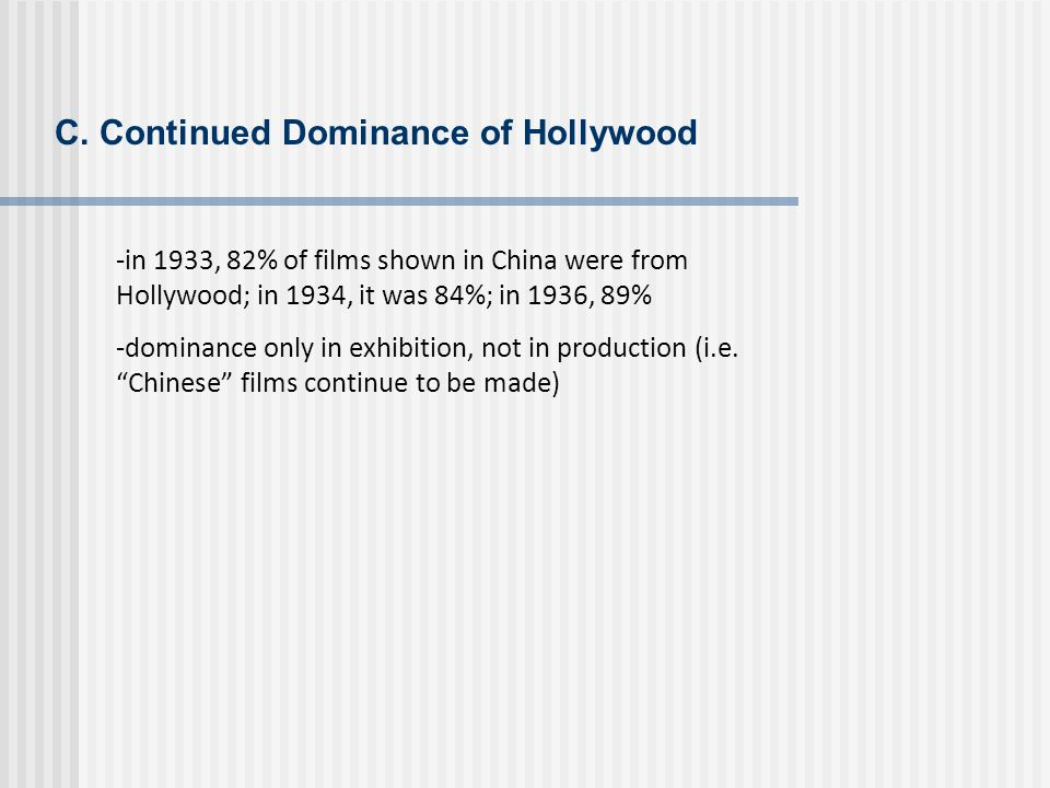 C. Continued Dominance of Hollywood