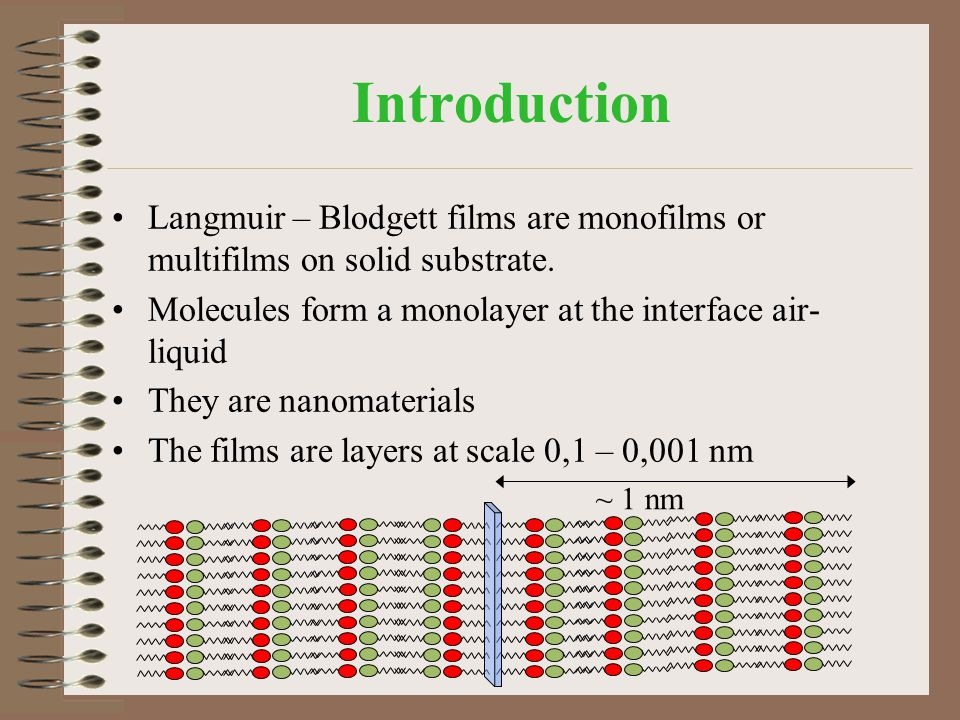 Introduction Langmuir – Blodgett films are monofilms or multifilms on solid substrate. Molecules form a monolayer at the interface air-liquid.