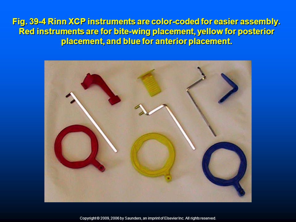 Fig. 39-4 Rinn XCP instruments are color-coded for easier assembly