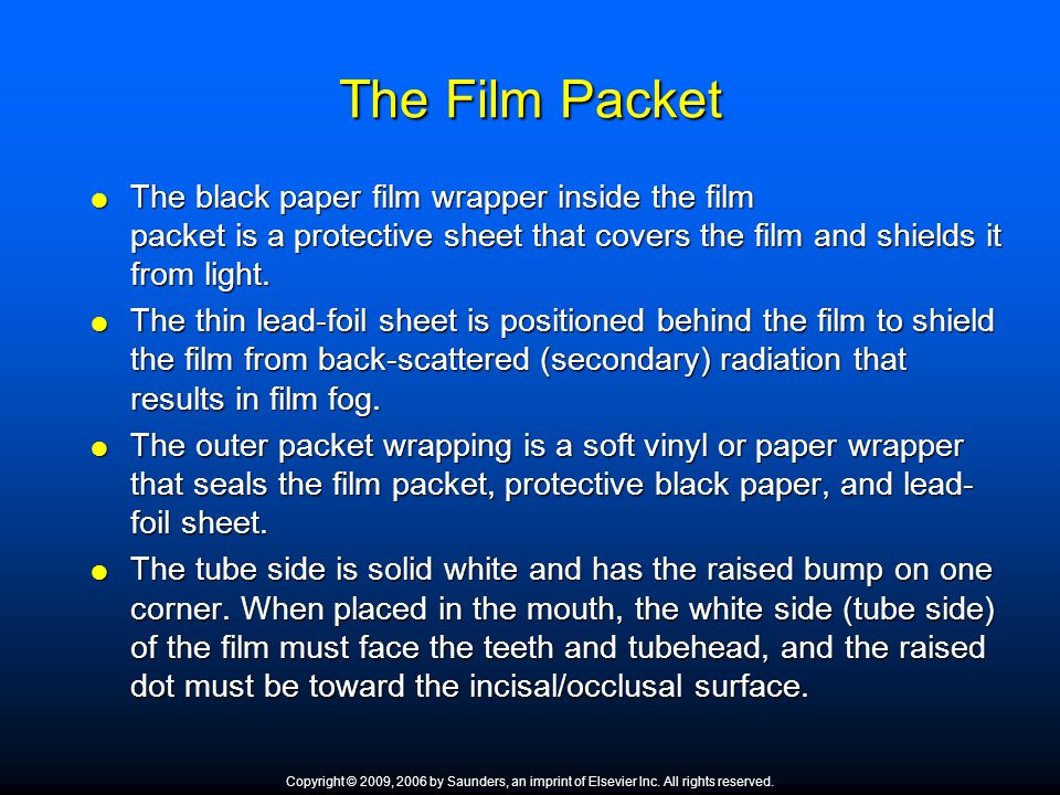 The Film Packet The black paper film wrapper inside the film packet is a protective sheet that covers the film and shields it from light.