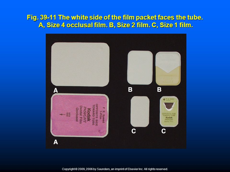 Fig. 39-11 The white side of the film packet faces the tube