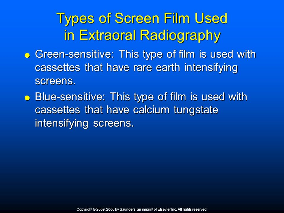 Types of Screen Film Used in Extraoral Radiography