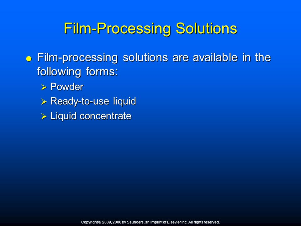 Film-Processing Solutions