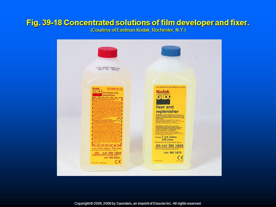 Fig. 39-18 Concentrated solutions of film developer and fixer