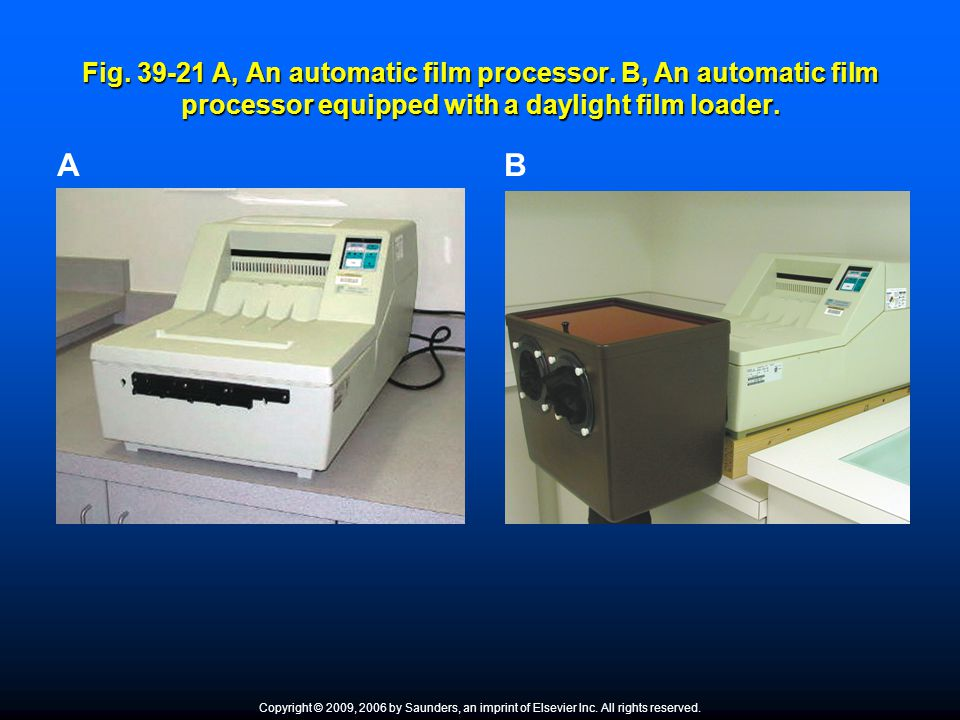 Fig. 39-21 A, An automatic film processor