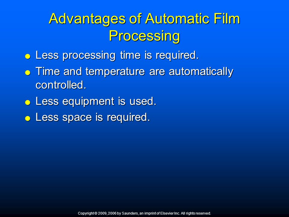 Advantages of Automatic Film Processing