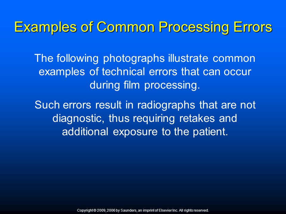 Examples of Common Processing Errors