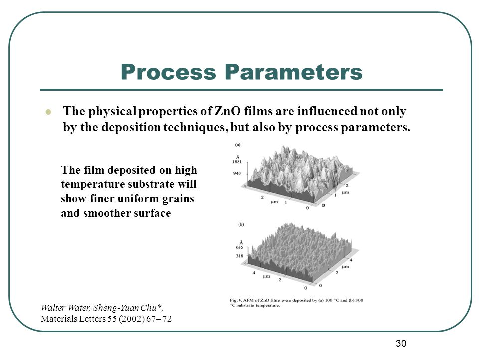 Process Parameters The physical properties of ZnO films are influenced not only by the deposition techniques, but also by process parameters.