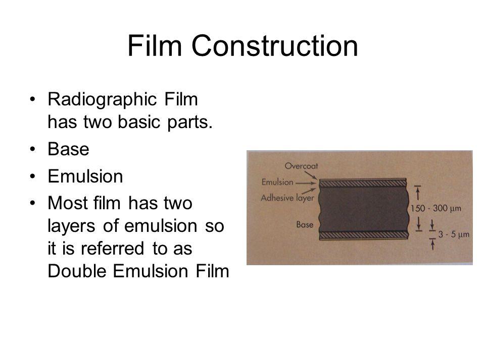 Film Construction Radiographic Film has two basic parts. Base Emulsion