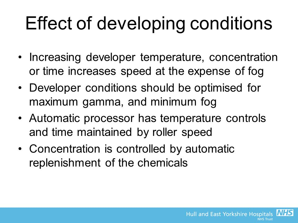 Effect of developing conditions