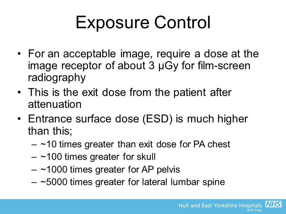 Exposure Control For an acceptable image, require a dose at the image receptor of about 3 μGy for film-screen radiography.