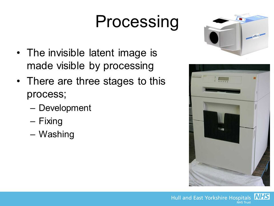 Processing The invisible latent image is made visible by processing
