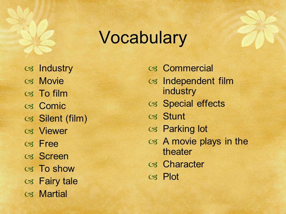 Vocabulary Industry Movie To film Comic Silent (film) Viewer Free