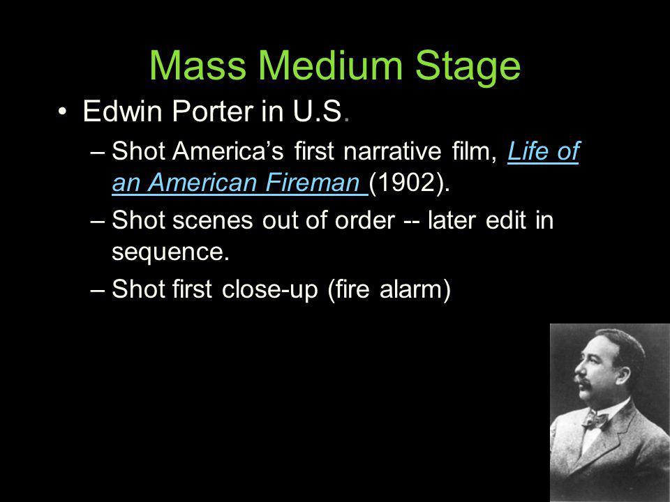 Mass Medium Stage Edwin Porter in U.S.