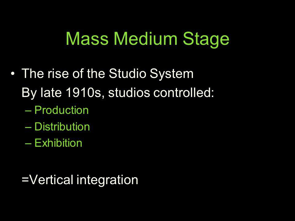 Mass Medium Stage The rise of the Studio System