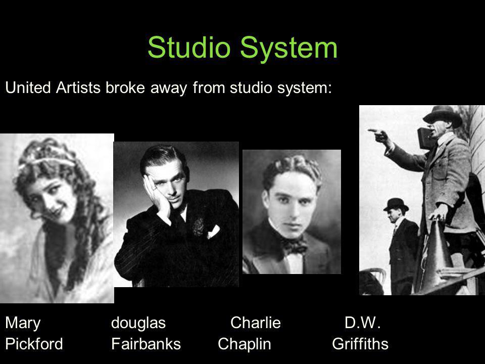Studio System United Artists broke away from studio system: