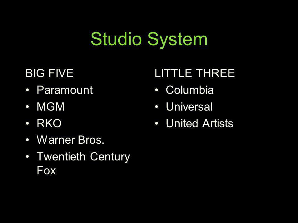 Studio System BIG FIVE Paramount MGM RKO Warner Bros.
