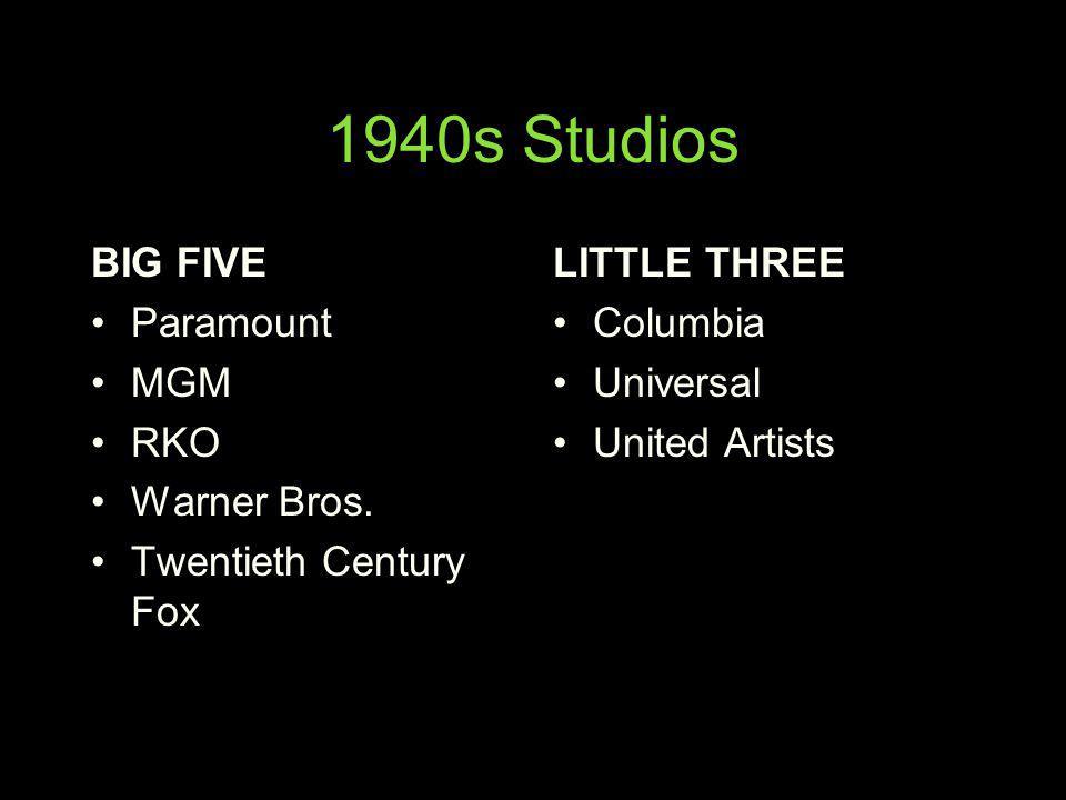 1940s Studios BIG FIVE Paramount MGM RKO Warner Bros.