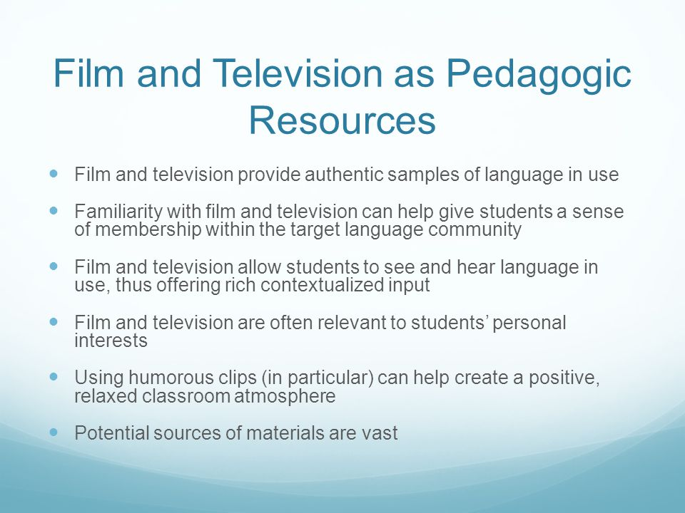 Film and Television as Pedagogic Resources