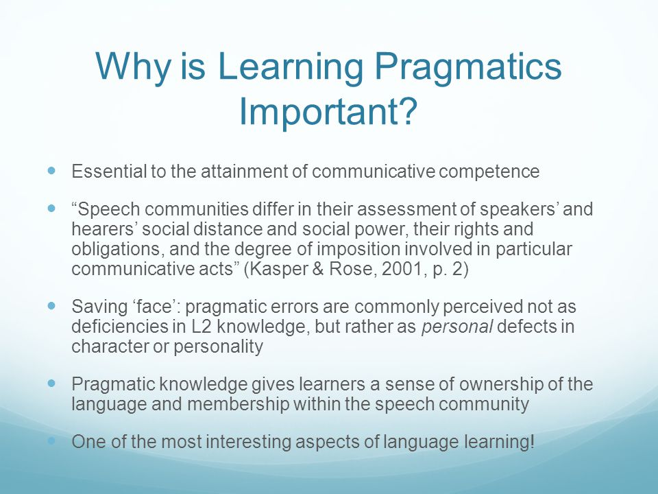 Why is Learning Pragmatics Important