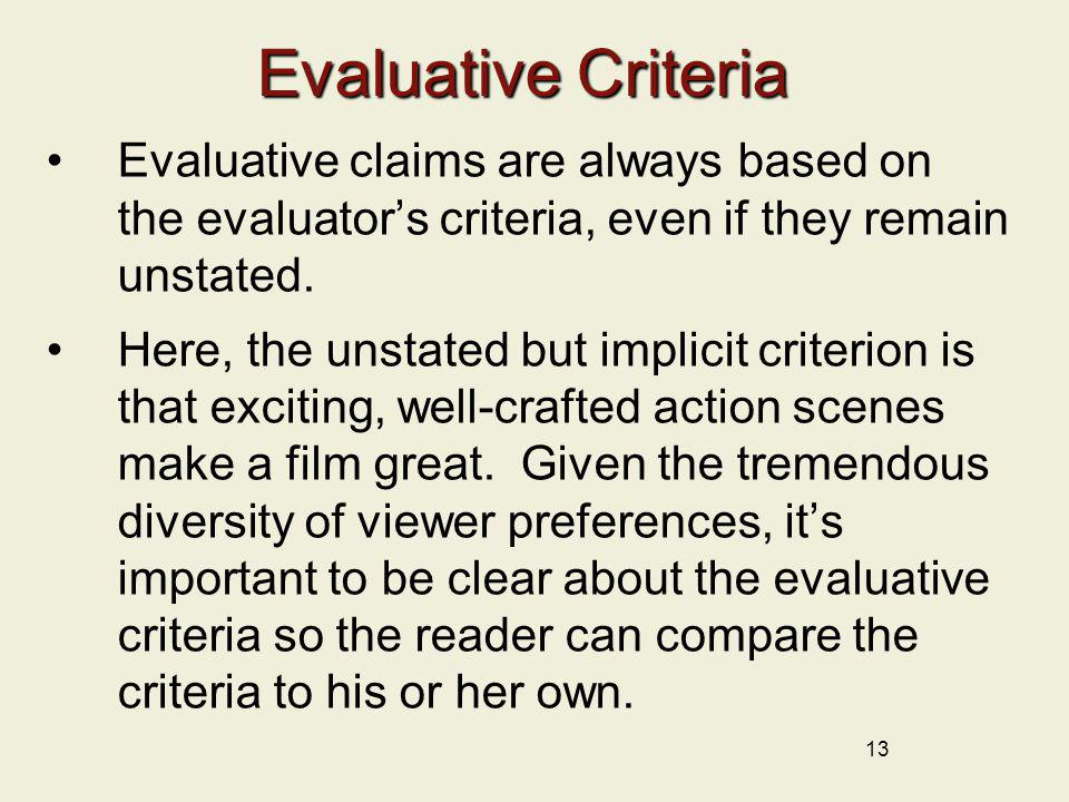 Evaluative Criteria Evaluative claims are always based on the evaluator's criteria, even if they remain unstated.