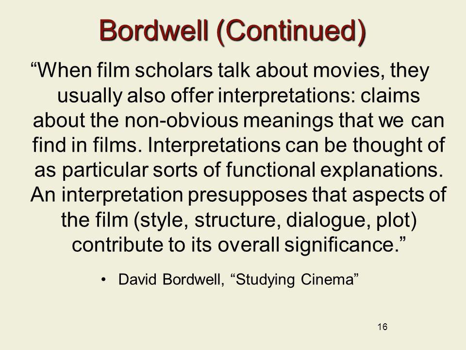 David Bordwell, Studying Cinema
