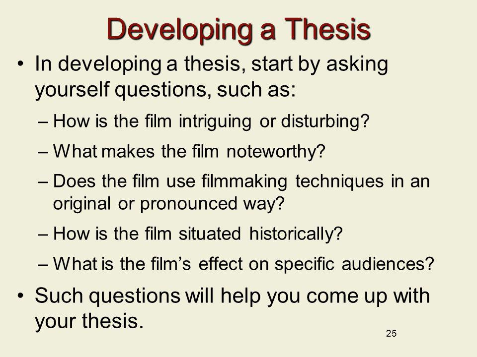 thesis start Almost every assignment you complete for a history course will ask you to make an argument your instructors will often call this your thesis -- your position on a subject.