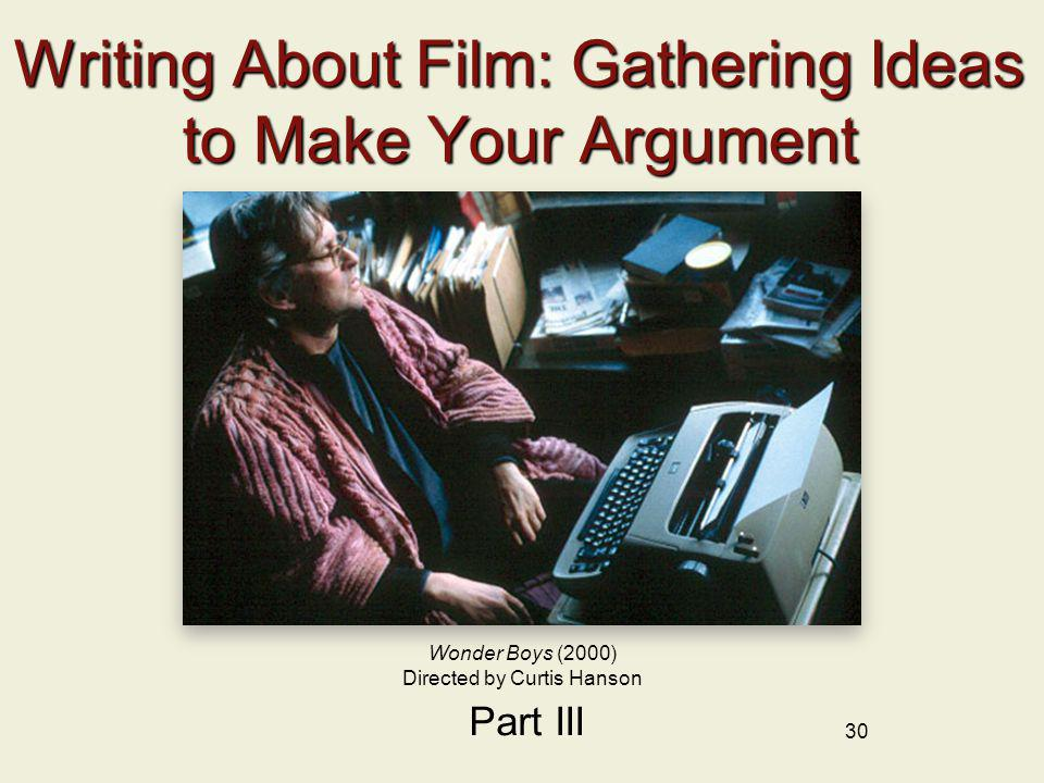 Writing About Film: Gathering Ideas to Make Your Argument