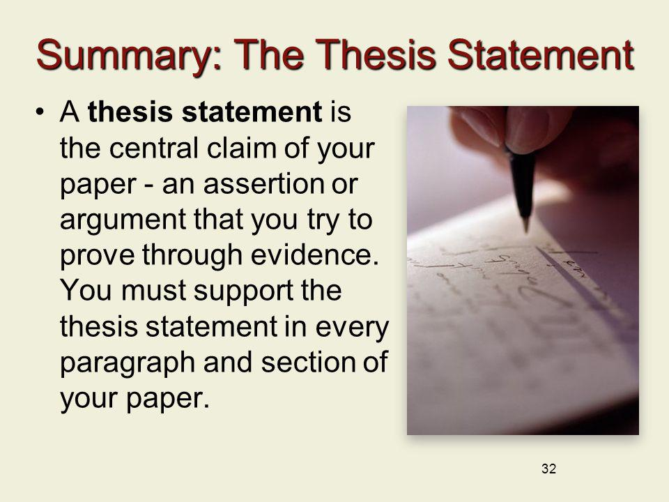 Summary: The Thesis Statement