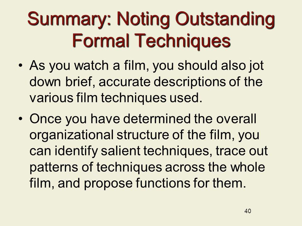 Summary: Noting Outstanding Formal Techniques