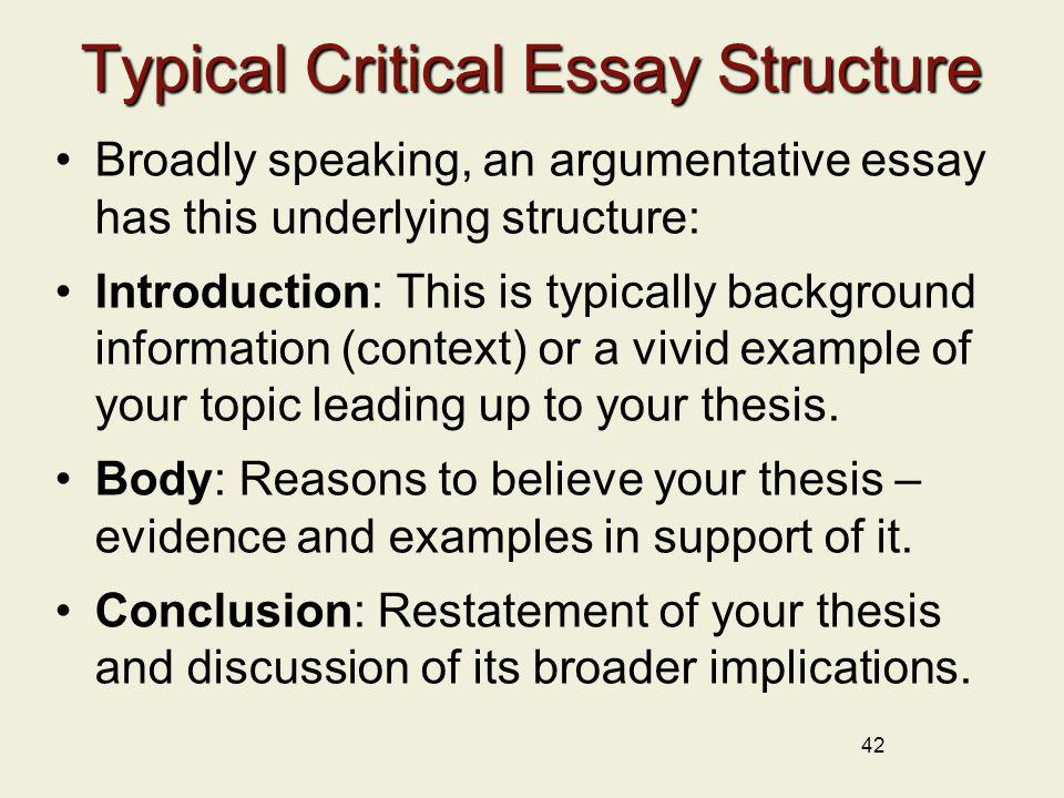 typical critical essay structure - Examples Of A Critical Essay