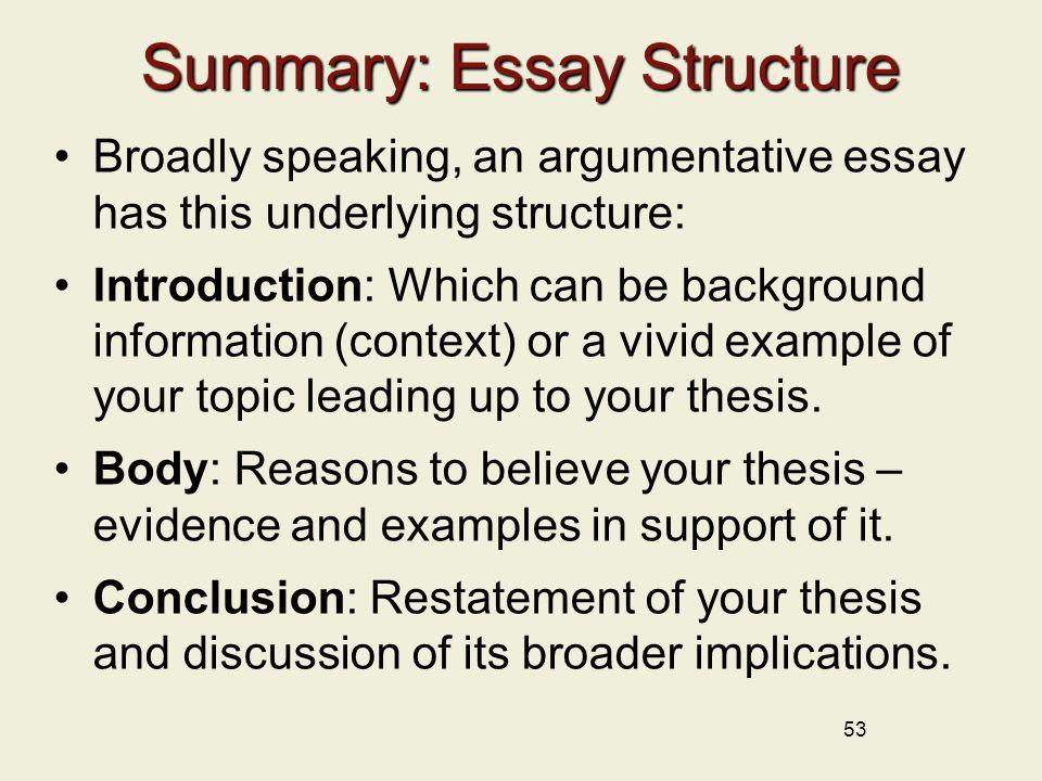 description summary essay