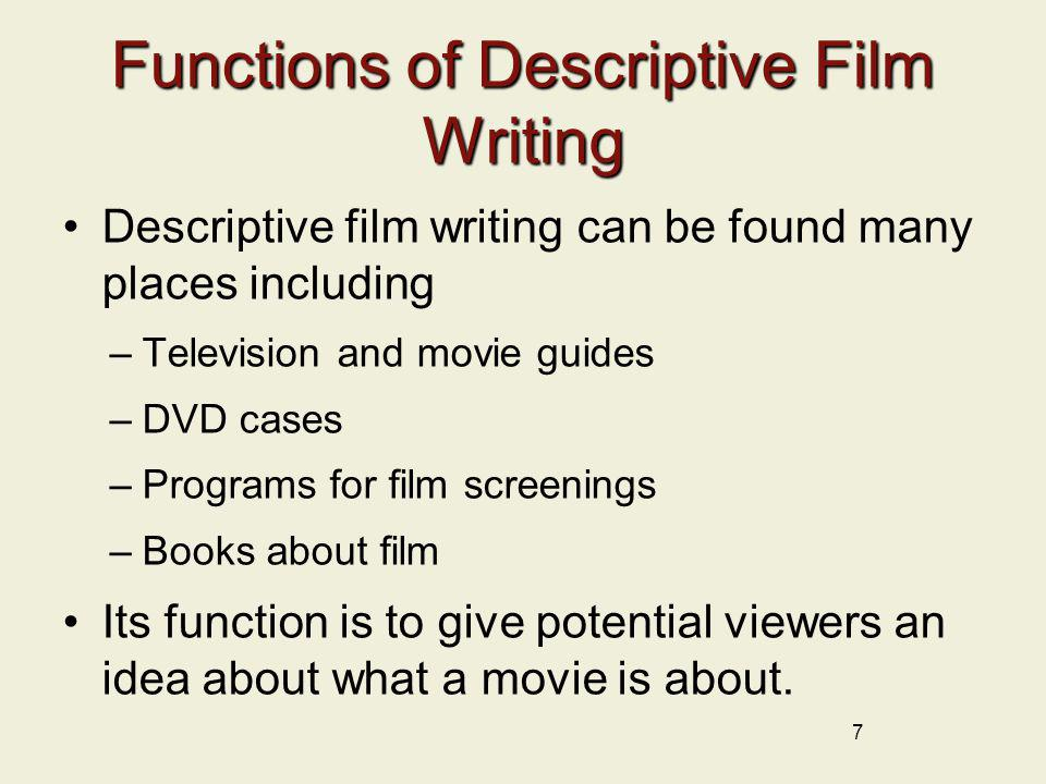 Functions of Descriptive Film Writing