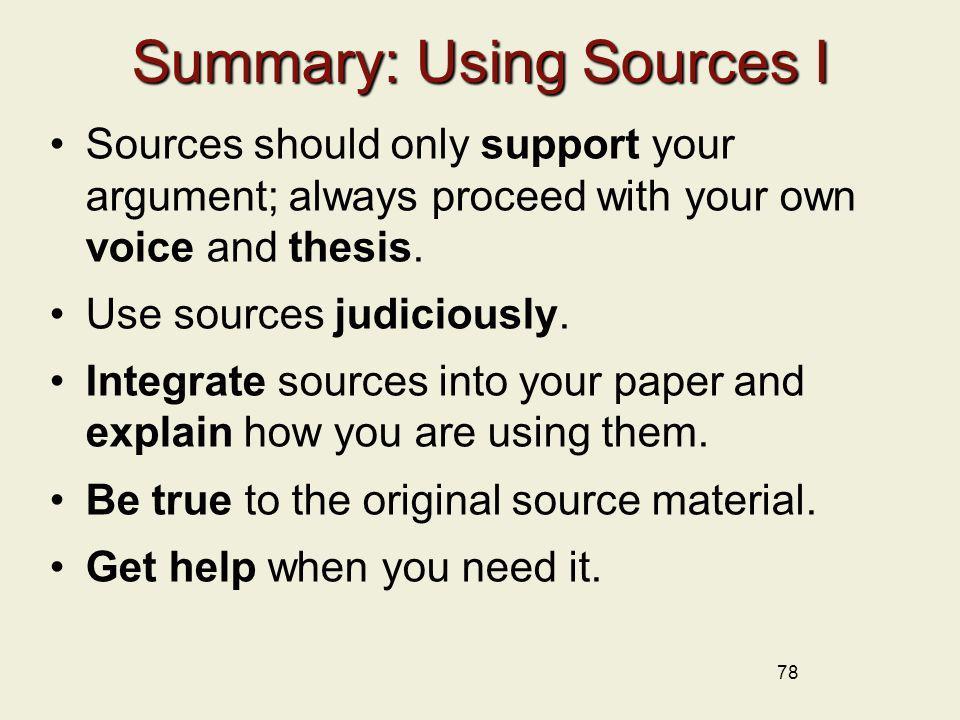 Summary: Using Sources I