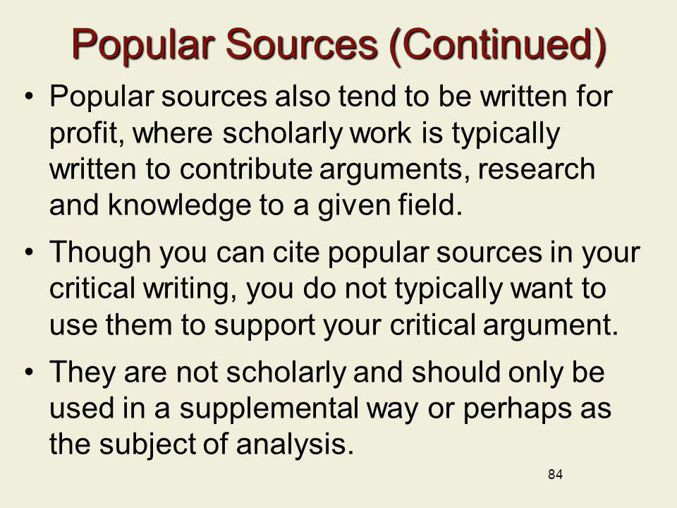 Popular Sources (Continued)