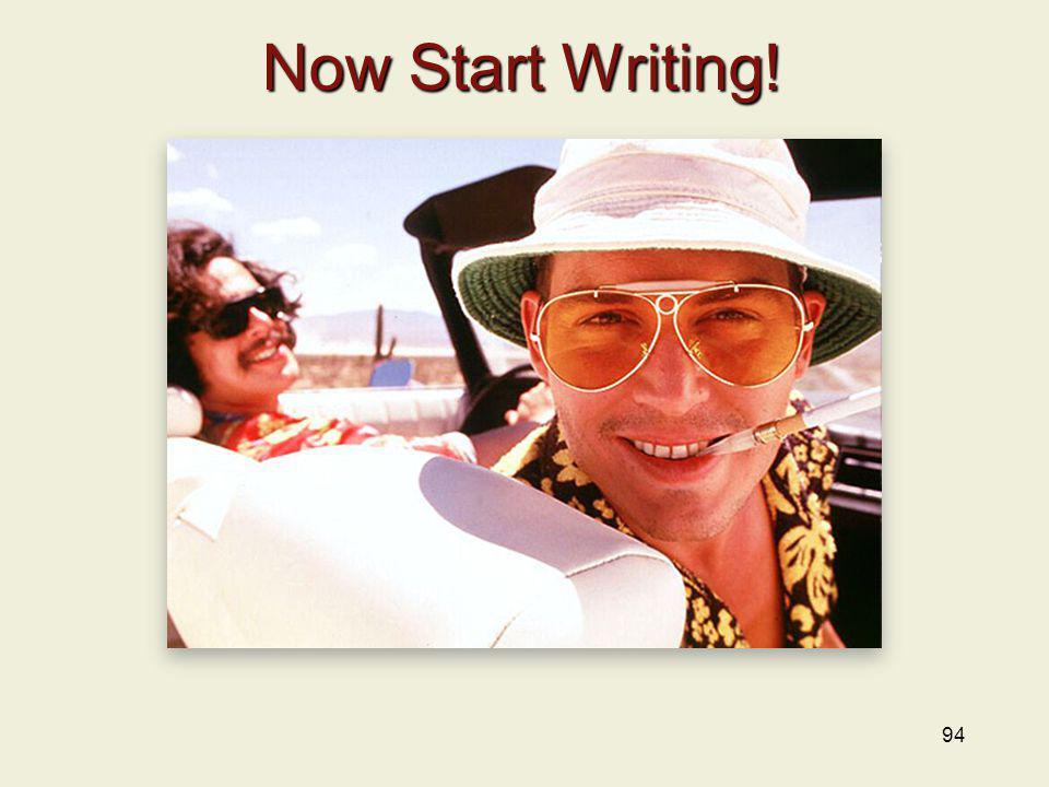 Now Start Writing!