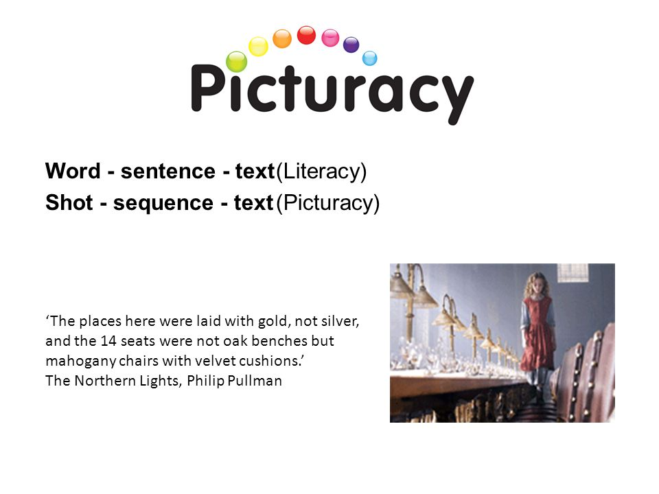 Word - sentence - text (Literacy) Shot - sequence - text (Picturacy)