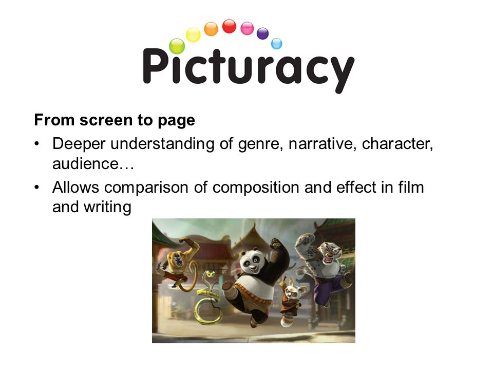 From screen to page Deeper understanding of genre, narrative, character, audience… Allows comparison of composition and effect in film and writing.
