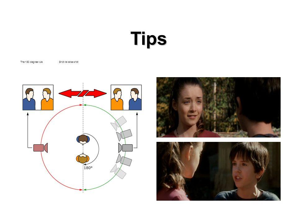 Tips The 180 degree rule Shot reverse shot