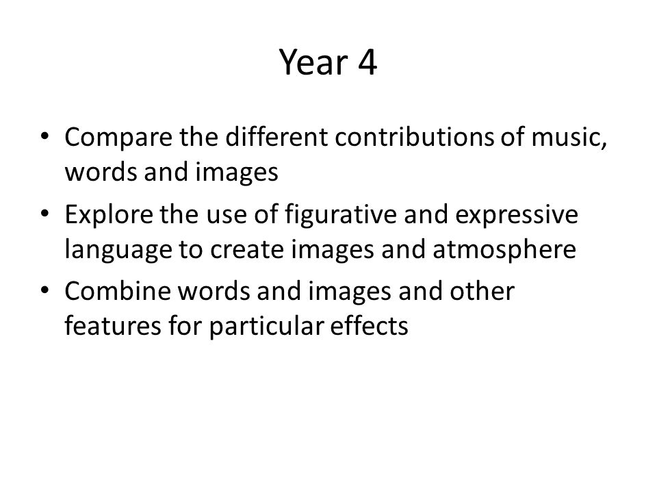 Year 4 Compare the different contributions of music, words and images