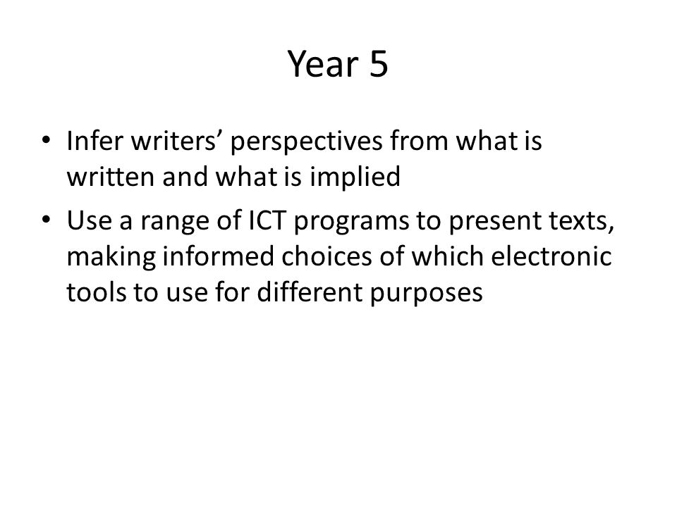 Year 5 Infer writers' perspectives from what is written and what is implied.