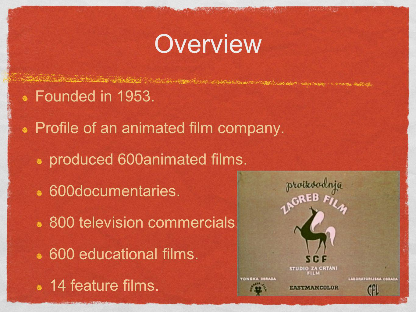 Overview Founded in 1953. Profile of an animated film company.