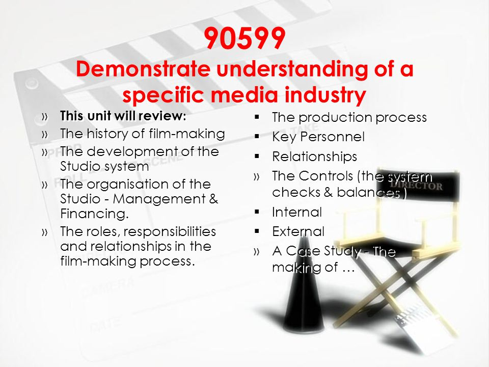 90599 Demonstrate understanding of a specific media industry