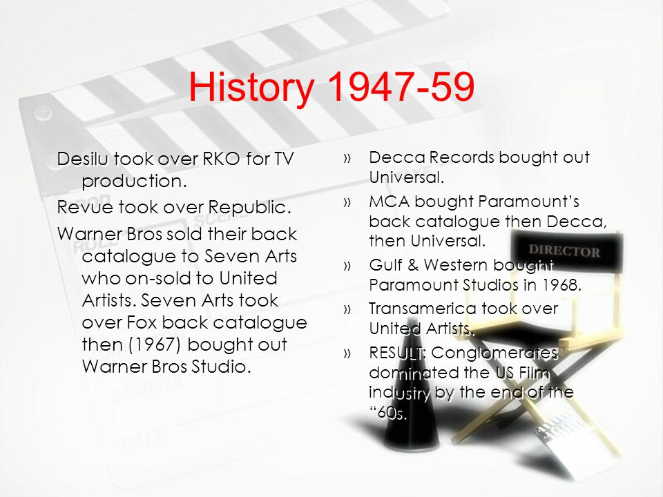 History 1947-59 Desilu took over RKO for TV production.