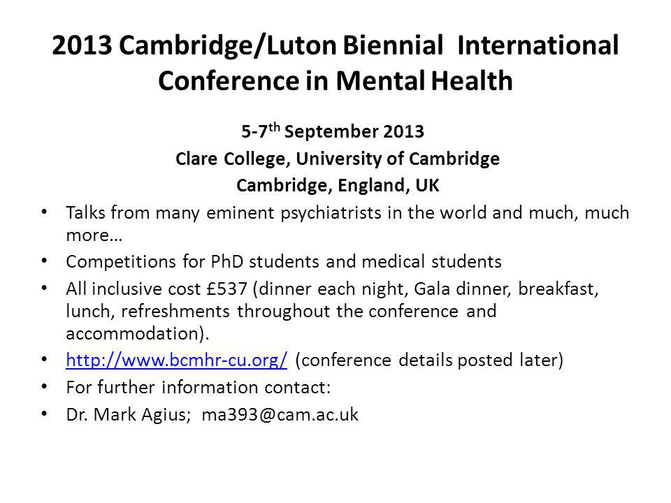 2013 Cambridge/Luton Biennial International Conference in Mental Health