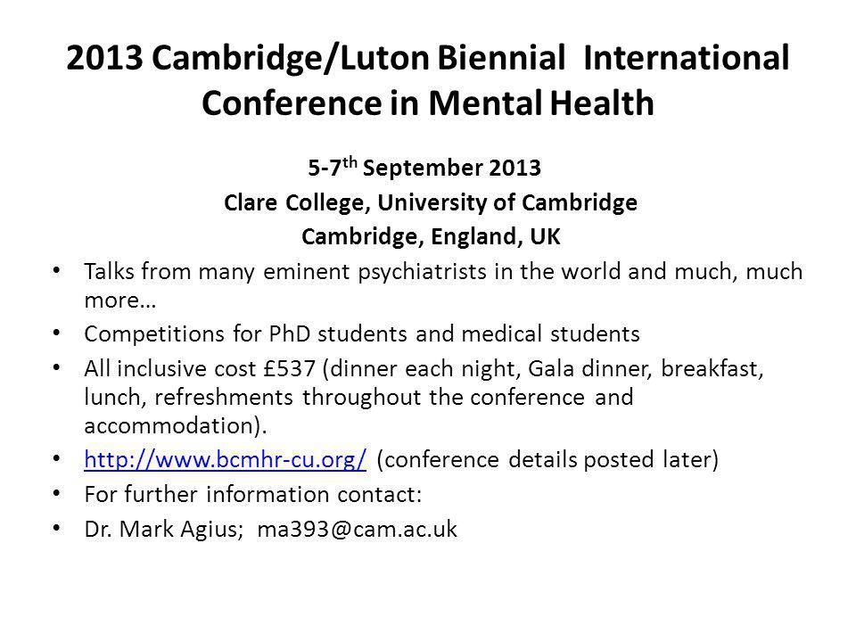 2013 Cambridge/Luton Biennial International Conference in Mental Health