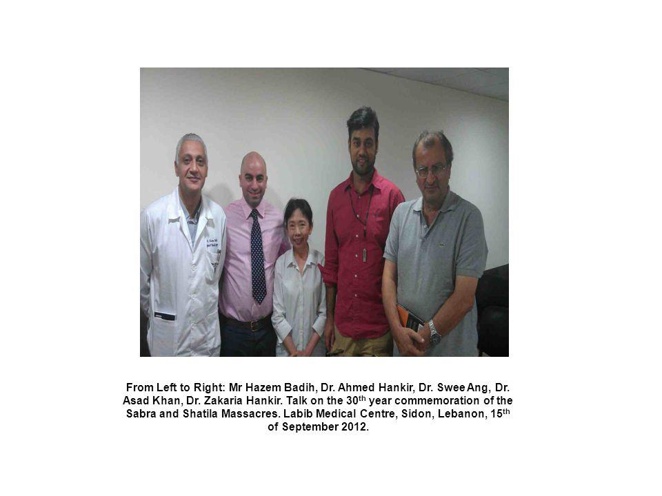From Left to Right: Mr Hazem Badih, Dr. Ahmed Hankir, Dr. Swee Ang, Dr