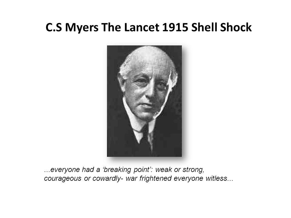 C.S Myers The Lancet 1915 Shell Shock