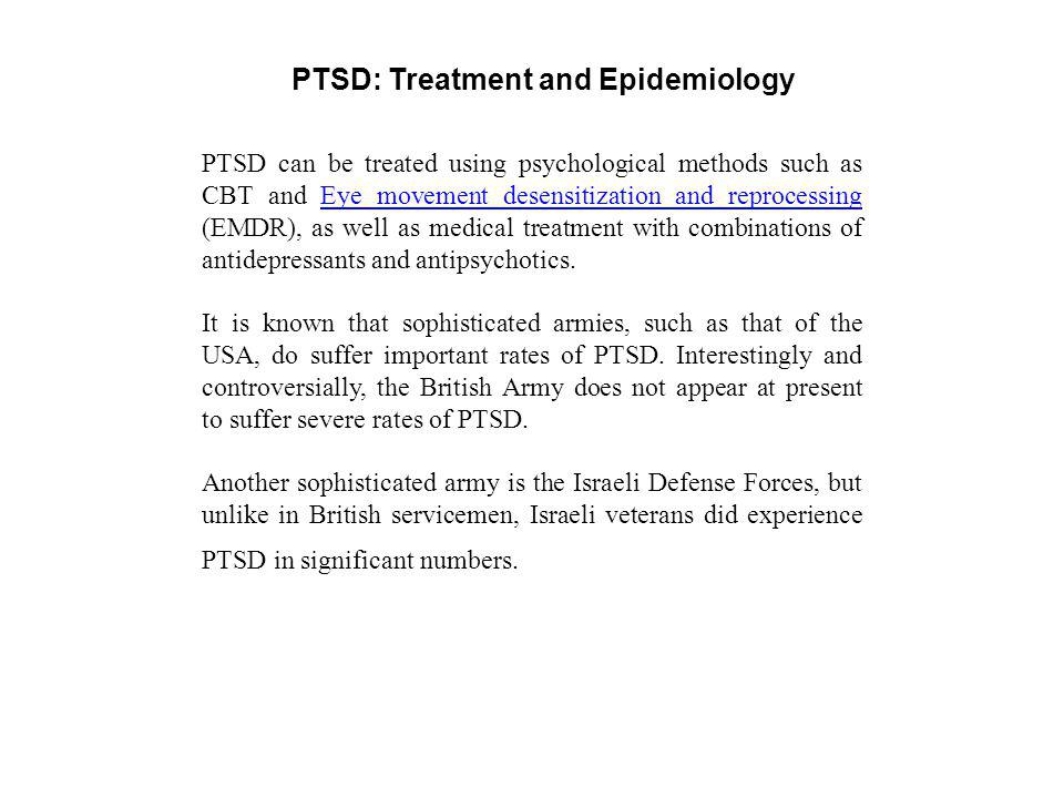 PTSD: Treatment and Epidemiology