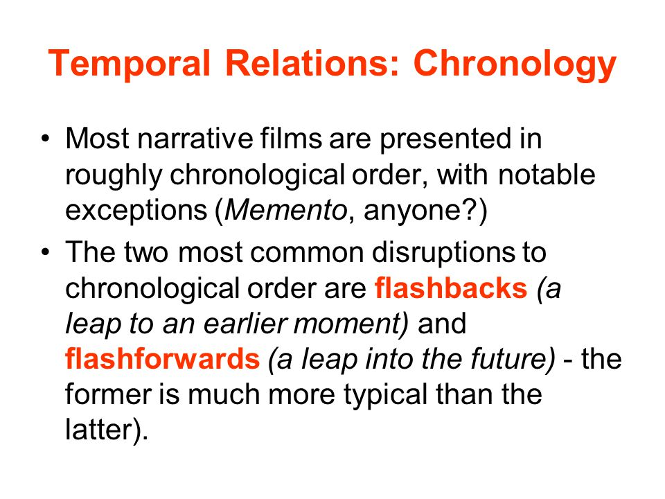 Temporal Relations: Chronology